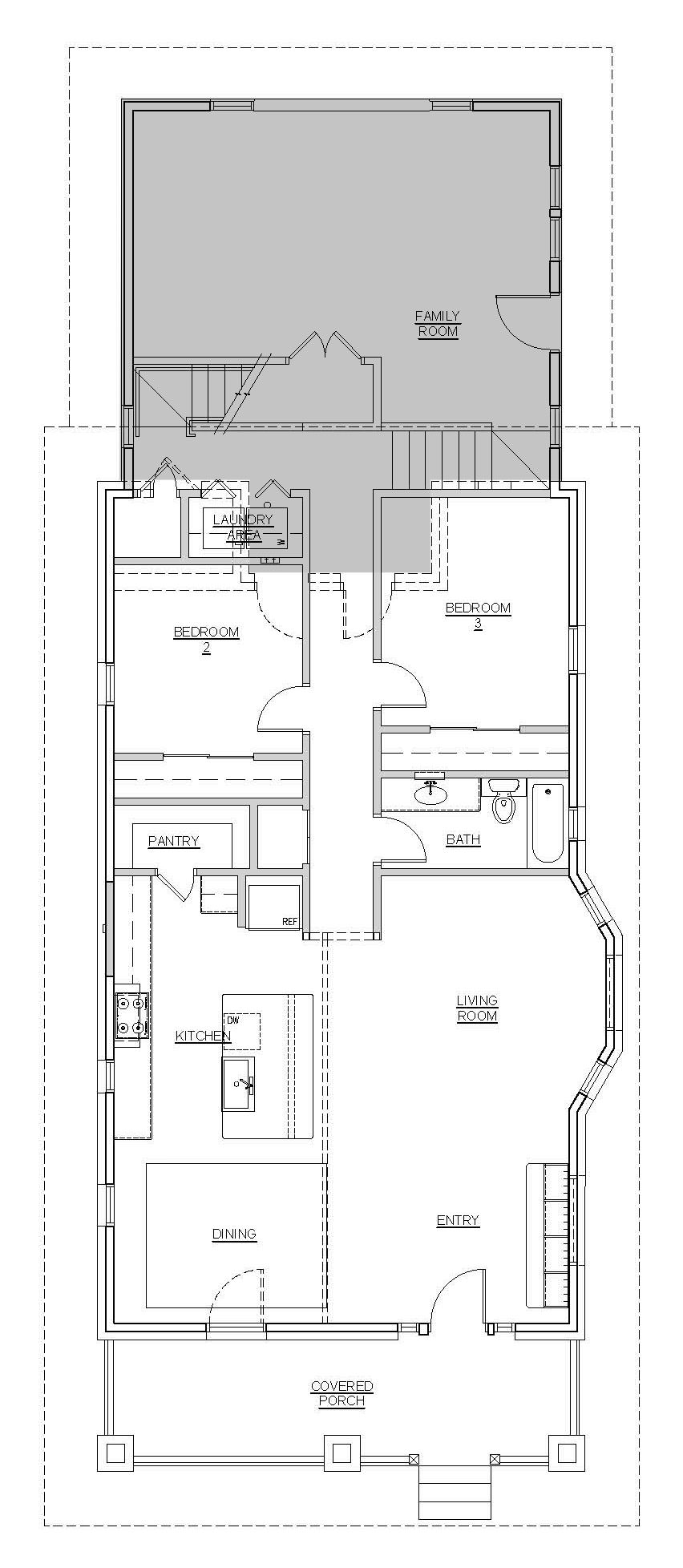 Main Level Floor Plan & Lower Level (addition in gray)