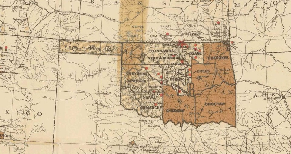 1890 Map of the Oklahoma and Indian Territories