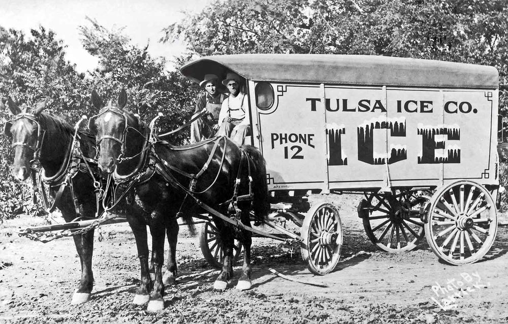 Image I found of two men in a Tulsa Ice Co. wagon (Circa 1936). The man on the left is my Grandfather Clyde Morris.