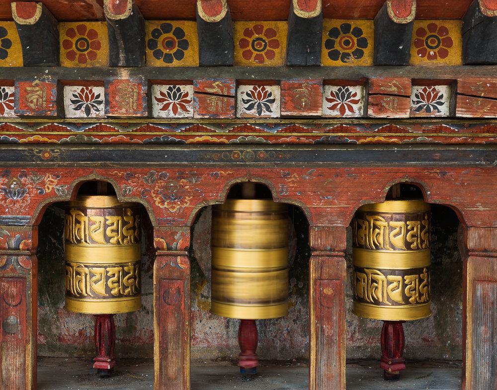 74 Spinning Prayer Wheels, Bhutan