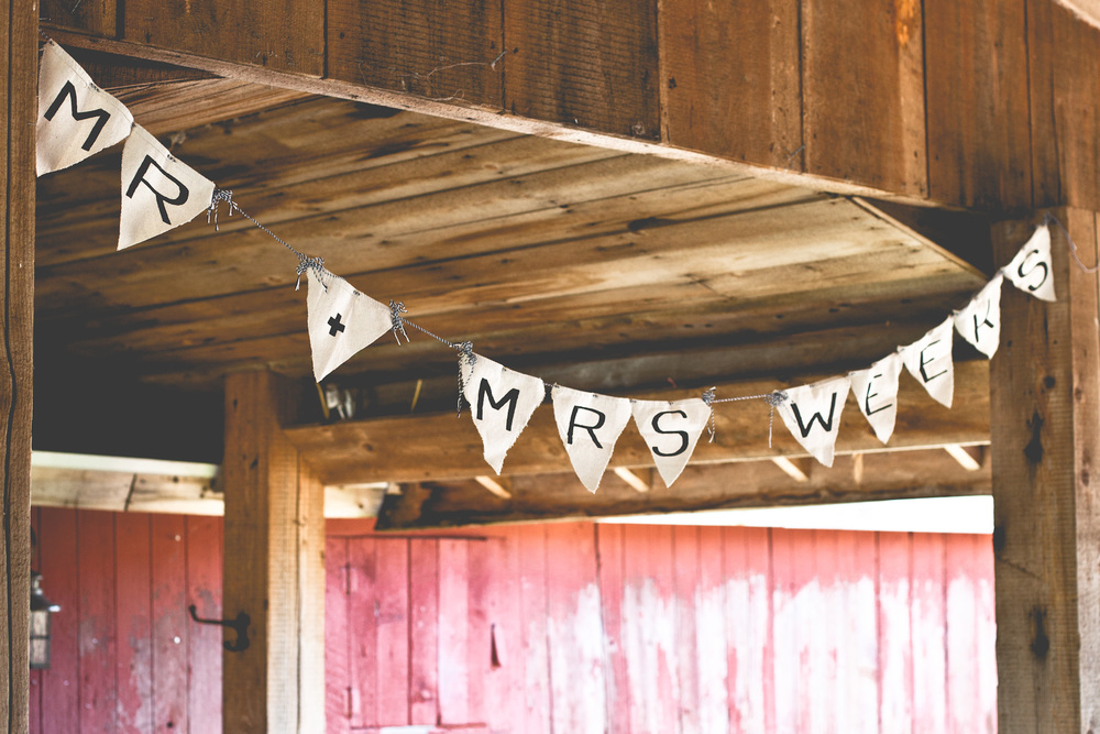 "This banner was handmade by one of my best friends & was one of my favorite decor items. She made ""Mrs. Weeks"" for my bachelorette brunch and I loved it so much that I convinced her to add the ""Mr."" so we could use it again at the reception!"
