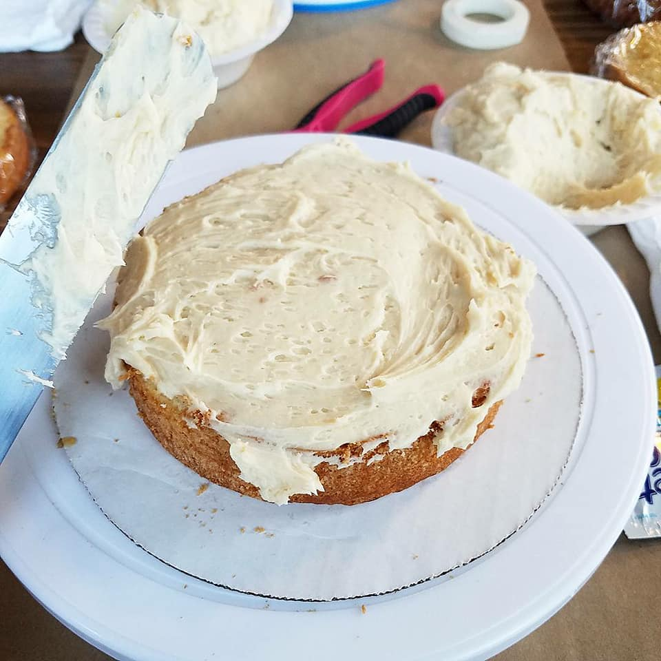 We started layering with salted caramel frosting, which was delicious.