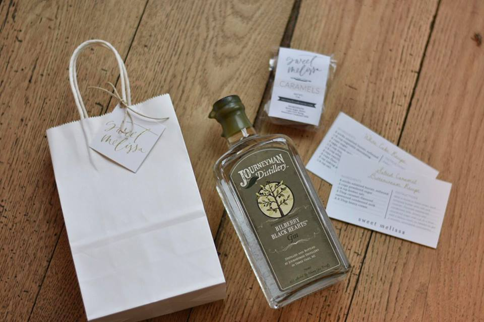 photo via: Sweet Melissa  The gift bags were awesome! We received a bottle of Journeyman Distillery's Gin, Caramels from Sweet Melissa and some recipe cards for the cake and frosting we made! I am definitely going to make the cake again very soon!