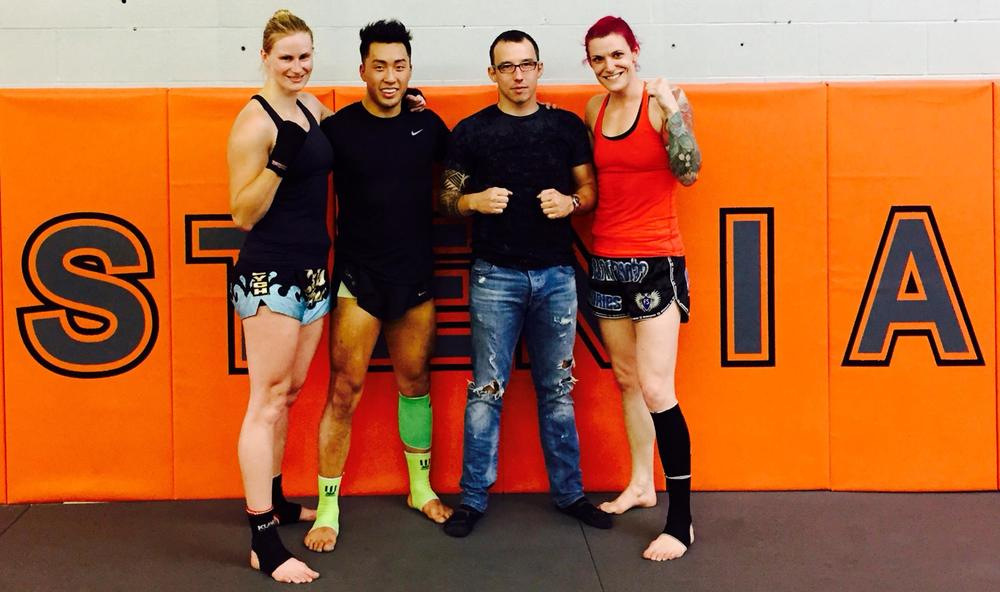 "Hilary ""The Hunter Herman, guest training partner Wayne Li, Kru Artur Nowaki and well, me..."