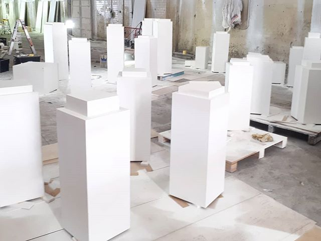 'Plinth city' workshop installation by @dougheslopart part of our latest major project with completion photos coming soon.  #webuildplinths