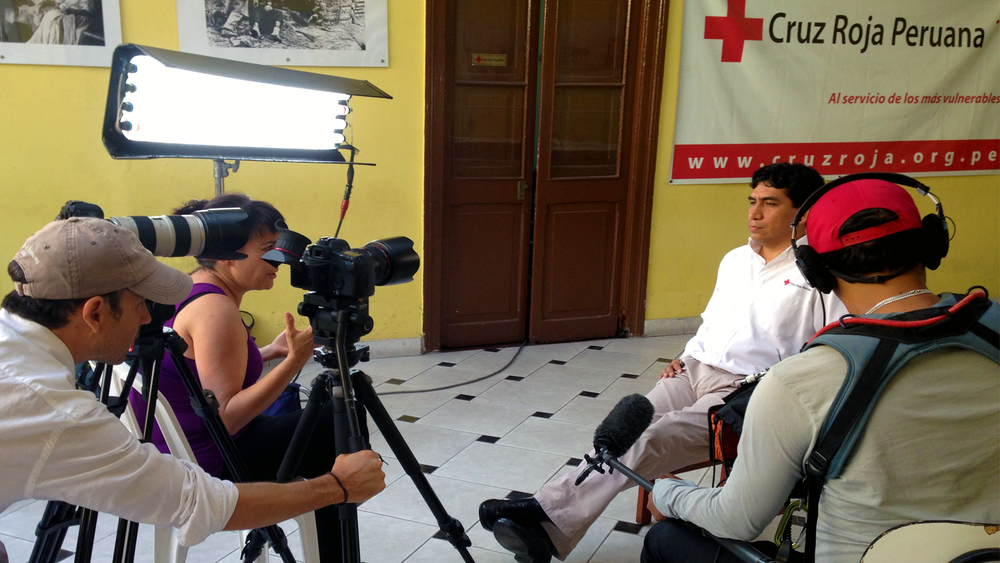 At the Red Cross in Lima, Peru interviewing an emergency worker.