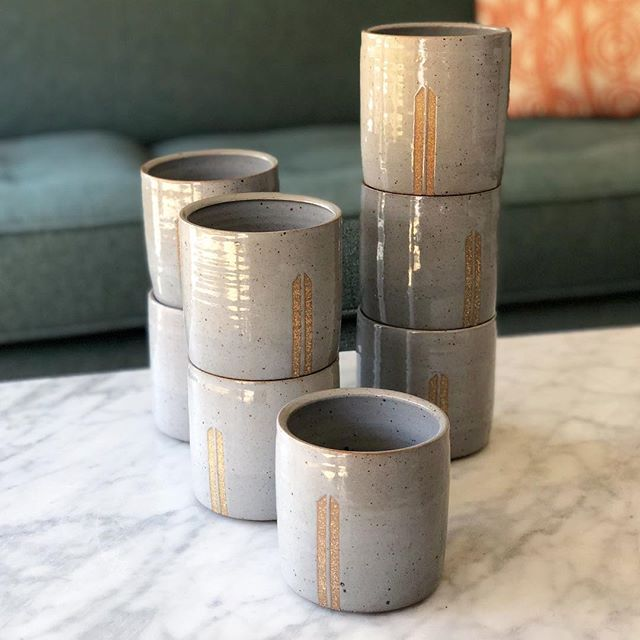 These cups came and went too quickly. As soon as they came out of the kiln the bottoms were sanded smooth and delivered to @manofattoshop to be included in her rad gift boxes. I don't use a lot of red clays, but these are really making me rethink that.