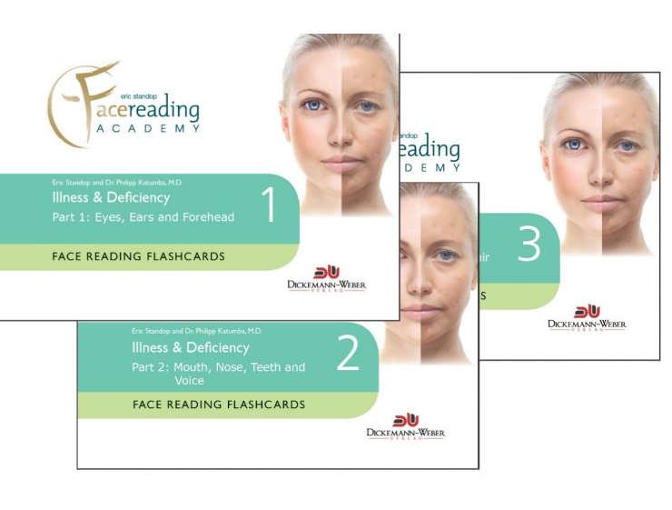 Face Reading Flashcards - Illness & Deficiency - HKD 750/set  Part 1: Eyes, Ears and Forehead  Part 2: Mouth, Nose, Teeth and Voice  Part 3: Skin, Cheeks, Chin, Hair and Tongue