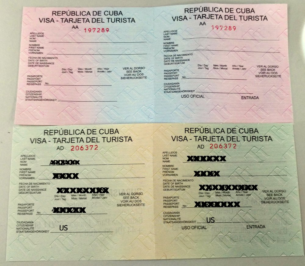 The 'pink' visa (top) is for US to Cuba direct travelers. The 'green' visa (bottom) is for travel from all other countries to Cuba.