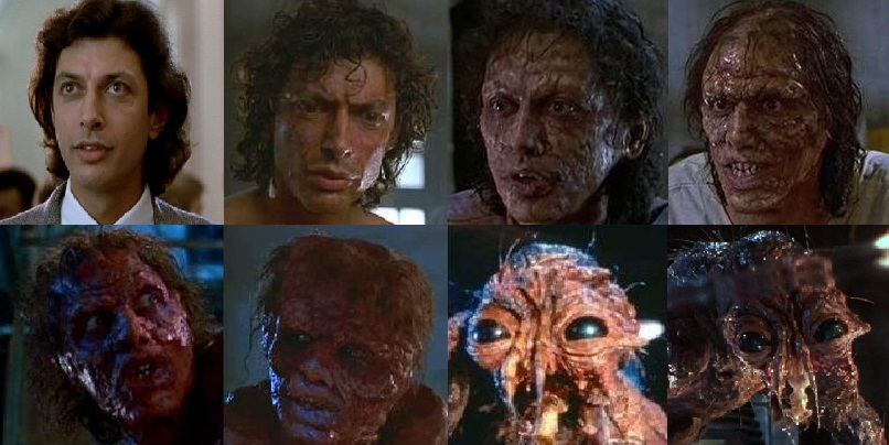In David Cronenberg's 1986 horror film  The Fly,  Jeff Goldblum's character transforms into a human-fly hybrid as the result of an accident with his teleportation machine.