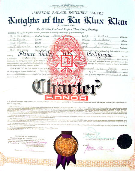 The secret charter of the Klan Klavern #105 officially founded in Watsonville on December 22, 1926. The Klan was organized throughout the Monterey Bay Region in the 1920s.