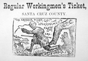 The anti-Chinese image from the top of a Santa Cruz County ballot, 1879. The anti-Chinese movement was extremely strong in Santa Cruz County in the 1870s and 1880s. Credit: Santa Cruz City Museum