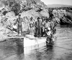 Members of this Point Lobos Japanese abalone diving crew cut up the finback whale, buried the bones, and reassembled the whale skeleton..