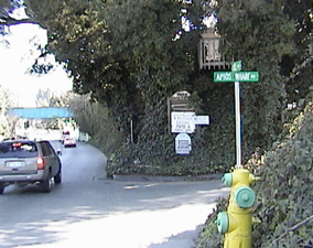 The Aptos Wharf Road. The only other clue remaining about the old wharf is this short stretch of road that intersects with Soquel Drive in Aptos just west of the railroad trestle. Present-day Soquel Drive was once the main road between Santa Cruz and Watsonville. Wagons loaded with lumber or agricultural products would turn here and head directly south dropping down off the coastal terrace and bringing their cargoes out onto the Aptos wharf for shipment