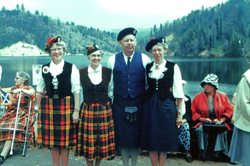 The dedication of Loch Lomond. From left to right, Margaret Browning, Anne Laurie, Sheriff's Captain Wesley Hopfer, Mrs. Jean Hopfer. Jean Hopfer was the driving force behind the naming of the reservoir