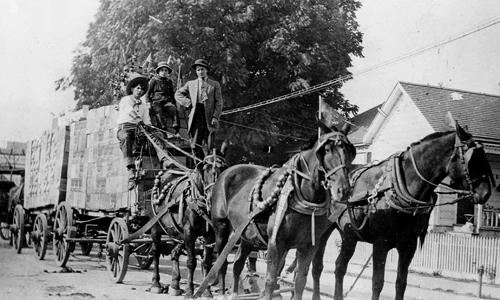 Apples wagons, Lukrich Company, Watsonville, c.1910.