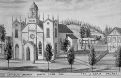 The Holy Cross Church that replaced the Santa Cruz Mission church in 1857. This church and the 1892 Gothic edifice that followed reflected the church (and community's) turning away from its Spanish-Mexican roots.