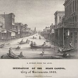 Image of Sacramento during the flood of 1862