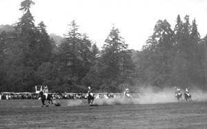 Polo players on the infield of Claus Spreckels' old race course, Aptos, 1924.