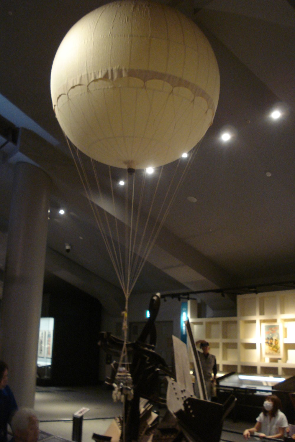 Fire Balloon display, Tokyo National Museum.  The balloon is one-third the size of the actual 1944 balloons.  The original balloons were 2 times this size.  If you are ever in Tokyo, this museum (also known as the Edo Museum) is one of the best museums in the world.
