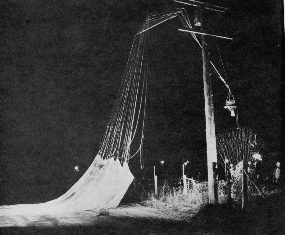 Downed fire balloon found outside the town of Grimes, California in the Sacramento Valley west of Yuba City.  It was found on March 14, 1945, and you can get a feeling for the size of the balloons – gondola is hanging in air to the right.  Several ballast sandbags and bombs were intact.