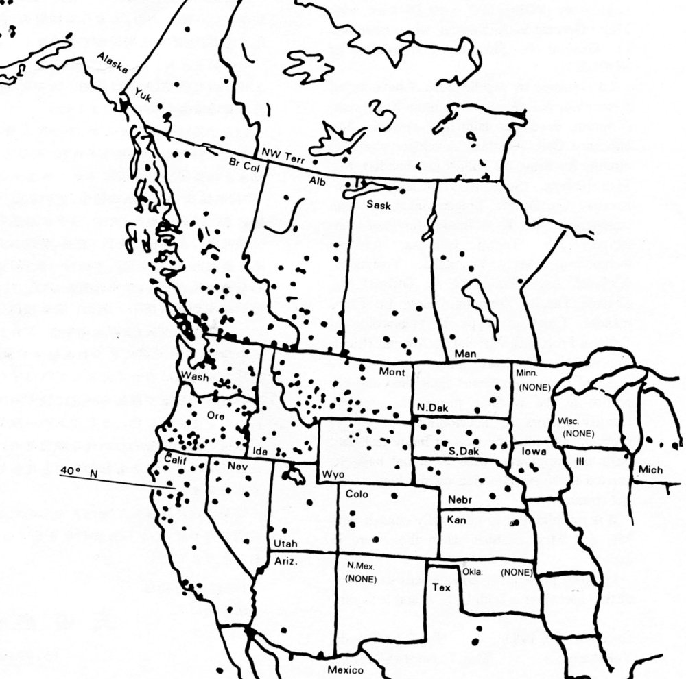 This map shows the general track of the balloons and the locations of the 350 balloons that survived.It was not until after the war that the Japanese who participated in the campaign knew that any of the balloons had reached North America.