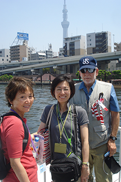 The Leadership team - with Tokyo Tower behind: Left, Yoshie-sensei, Middle Kaori Mizoguchi, and right The History Dude.