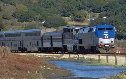 The Coast Starlight as it rolls alongside Elkhorn Slough.  You'll see the Central Coast in an entirely new way from the train.