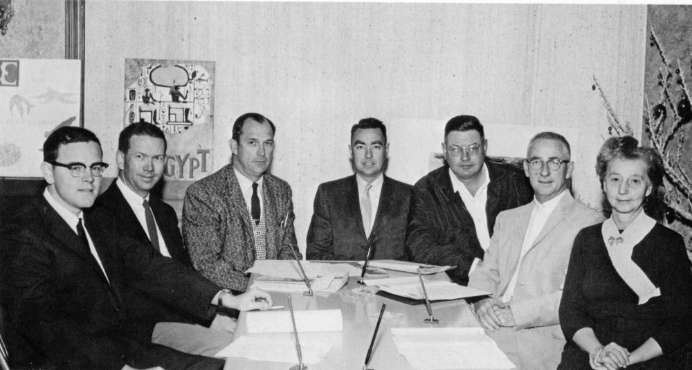 The Founding Cabrillo Trustees from left: Bud Rice, Art Hubbard, Keith Shaffer, Hal Hyde, Joe Chamberlain, Carl Conelly, Marguerite Blaisdell.
