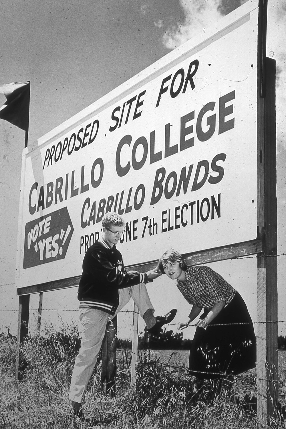 Cabrillo students help the campaign by putting up signs promoting the bond issue.