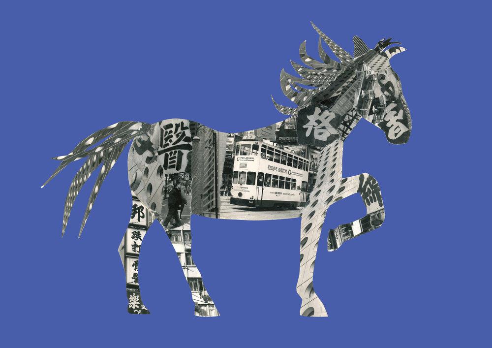 Horse in Hong Kong [dark blue]