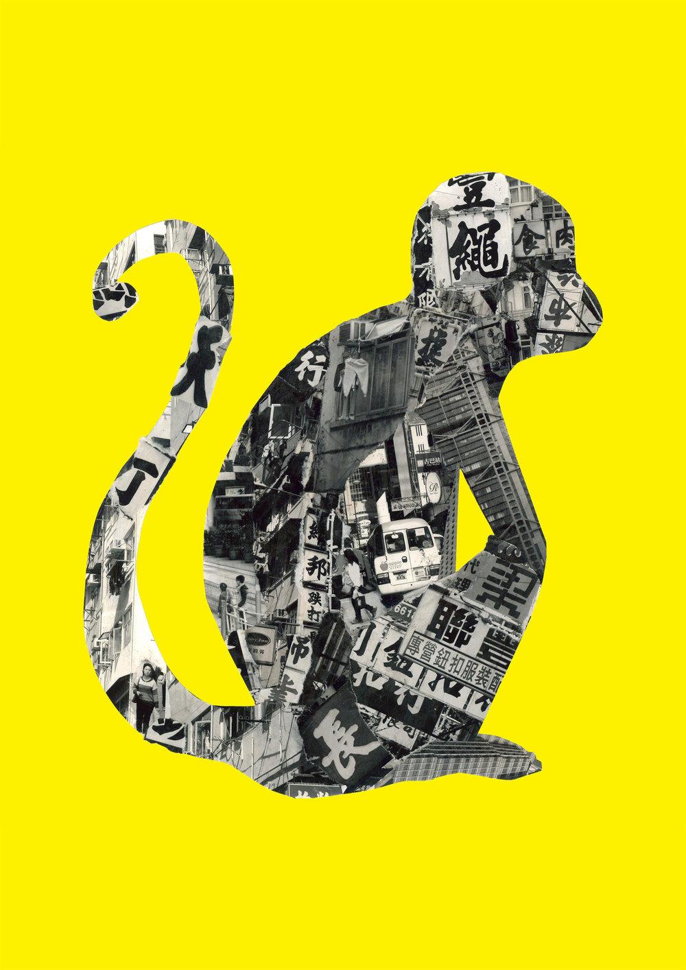 Monkey in Hong Kong [yellow]