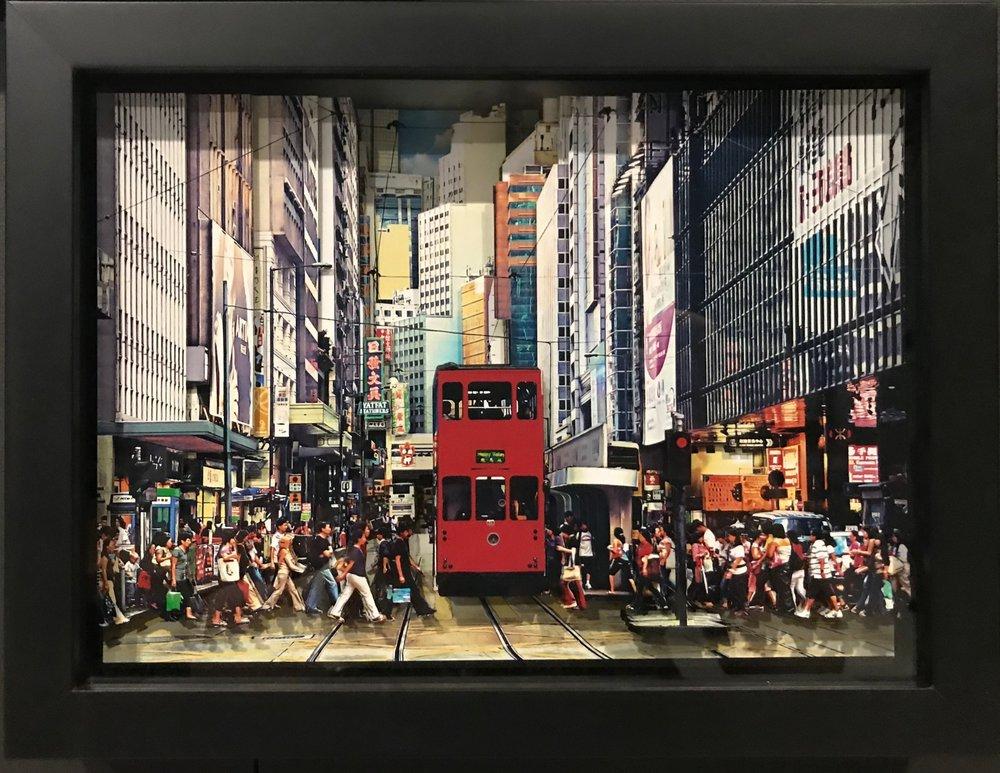 """葉家偉 Alexis Ip  , 中環電車路, Tramway in Central (Hong Kong, 2018), """"Fotomo""""3-D Collage open edition, H20 x 30 cm, HK$ 6,800 including frame"""