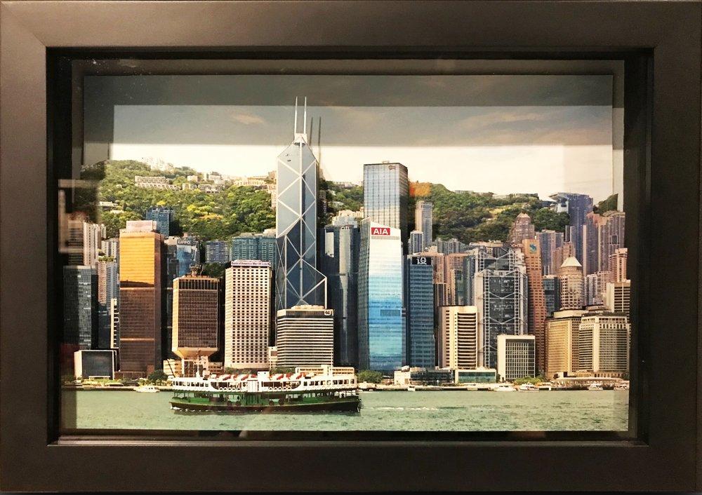 """葉家偉 Alexis Ip ,維多利亞港, Victoria Harbour (Hong Kong, 2017),""""Fotomo""""3-D Collage open edition, H21 x 30 cm, HK$ 6,800 including frame"""