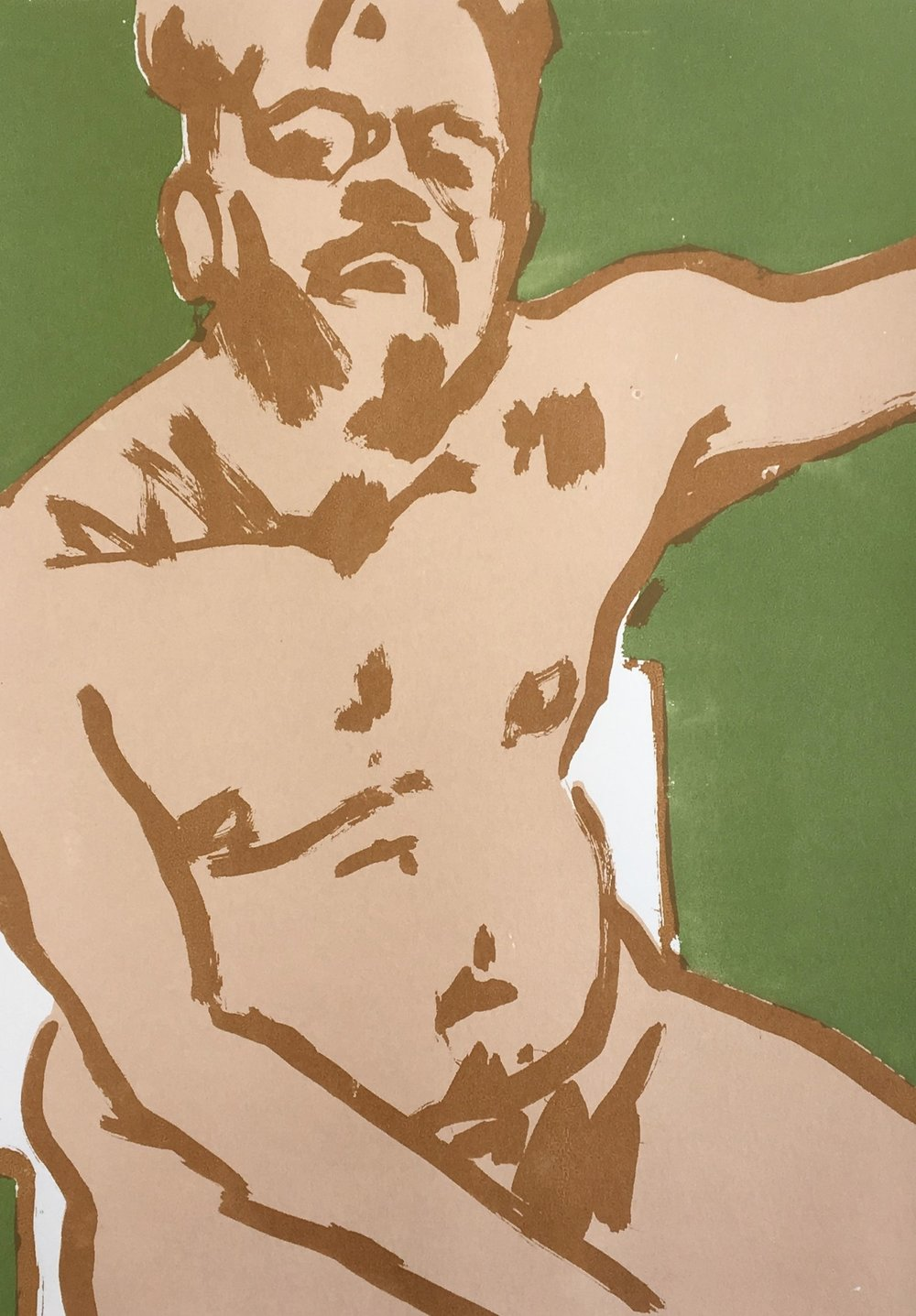 Naked Self-Portrait,  2017, screenprint