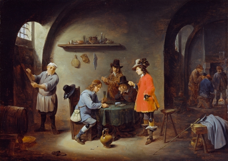 David Teniers the Younger,  Gambling Scene at an Inn,  late 1640s, oil on oak panel