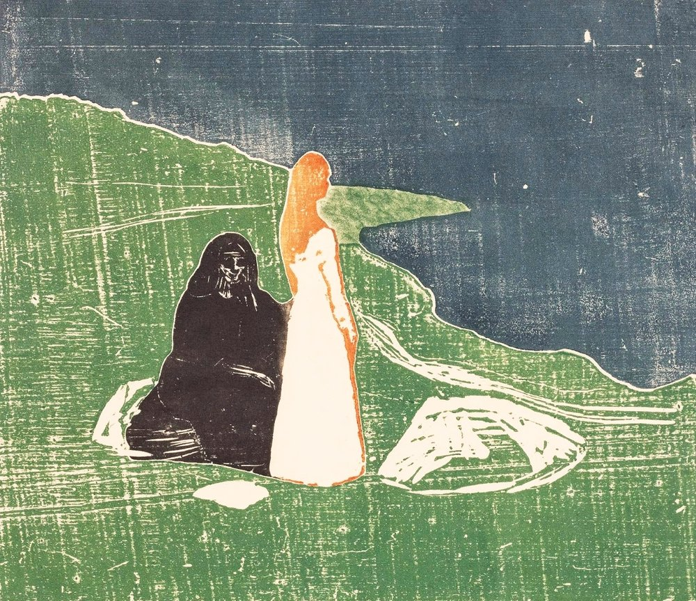 Edvard Munch,  Two Women on the Shore,  1898, coloured woodcut