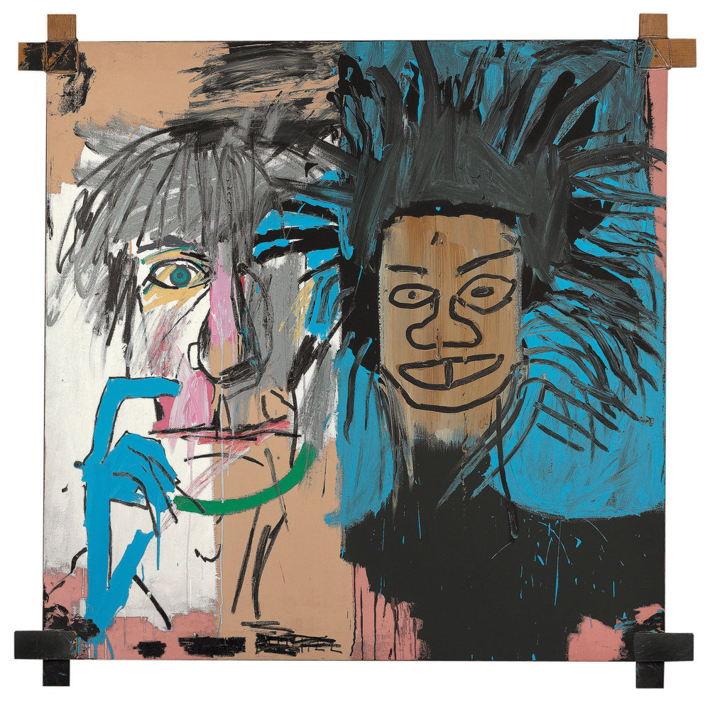 Jean-Michel Basquiat,  Dos Cabezas,  1982, acrylic and oilstick on canvas with wood supports