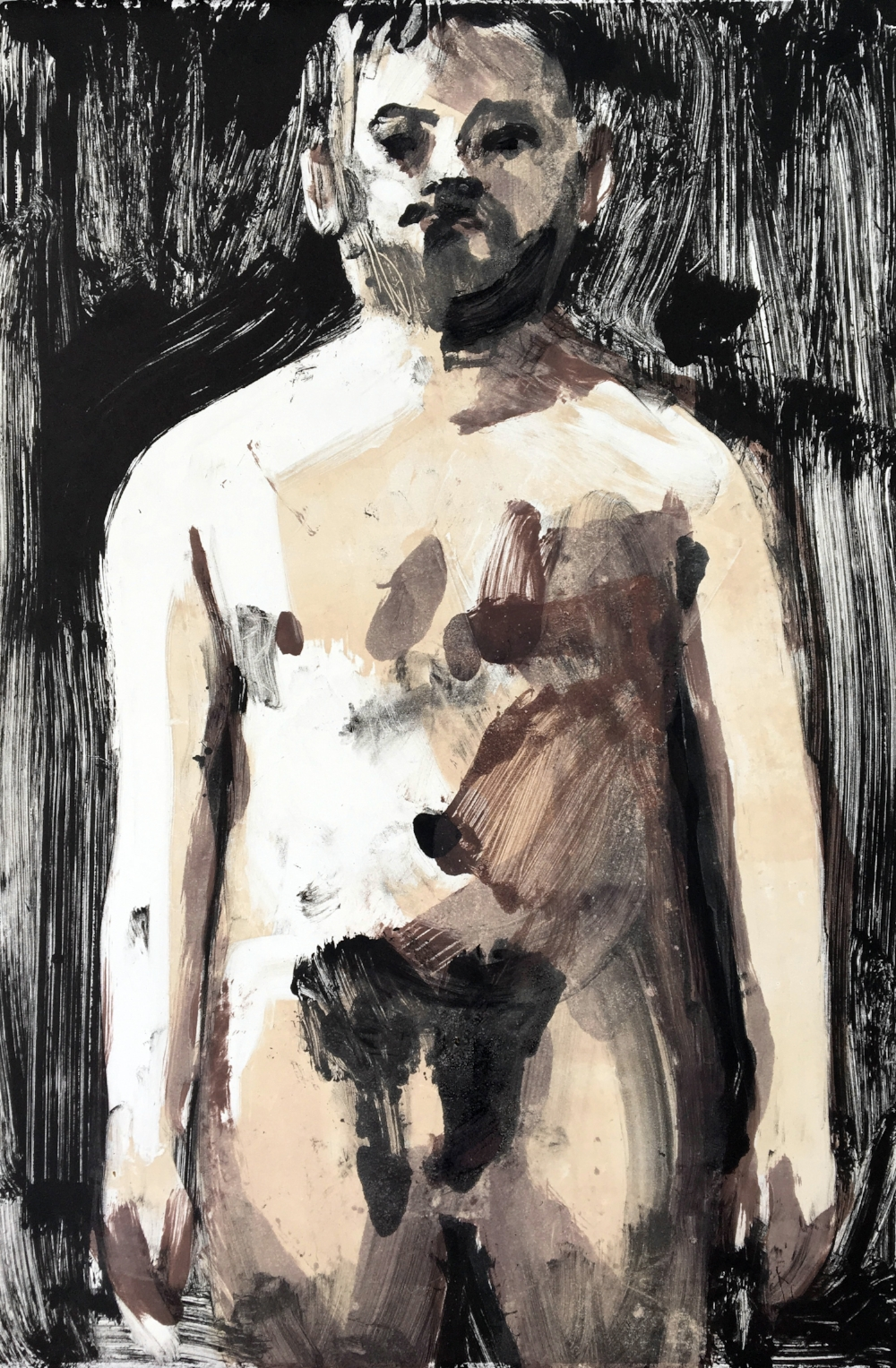 Self-Portrait With No Clothes On  2018, monotype
