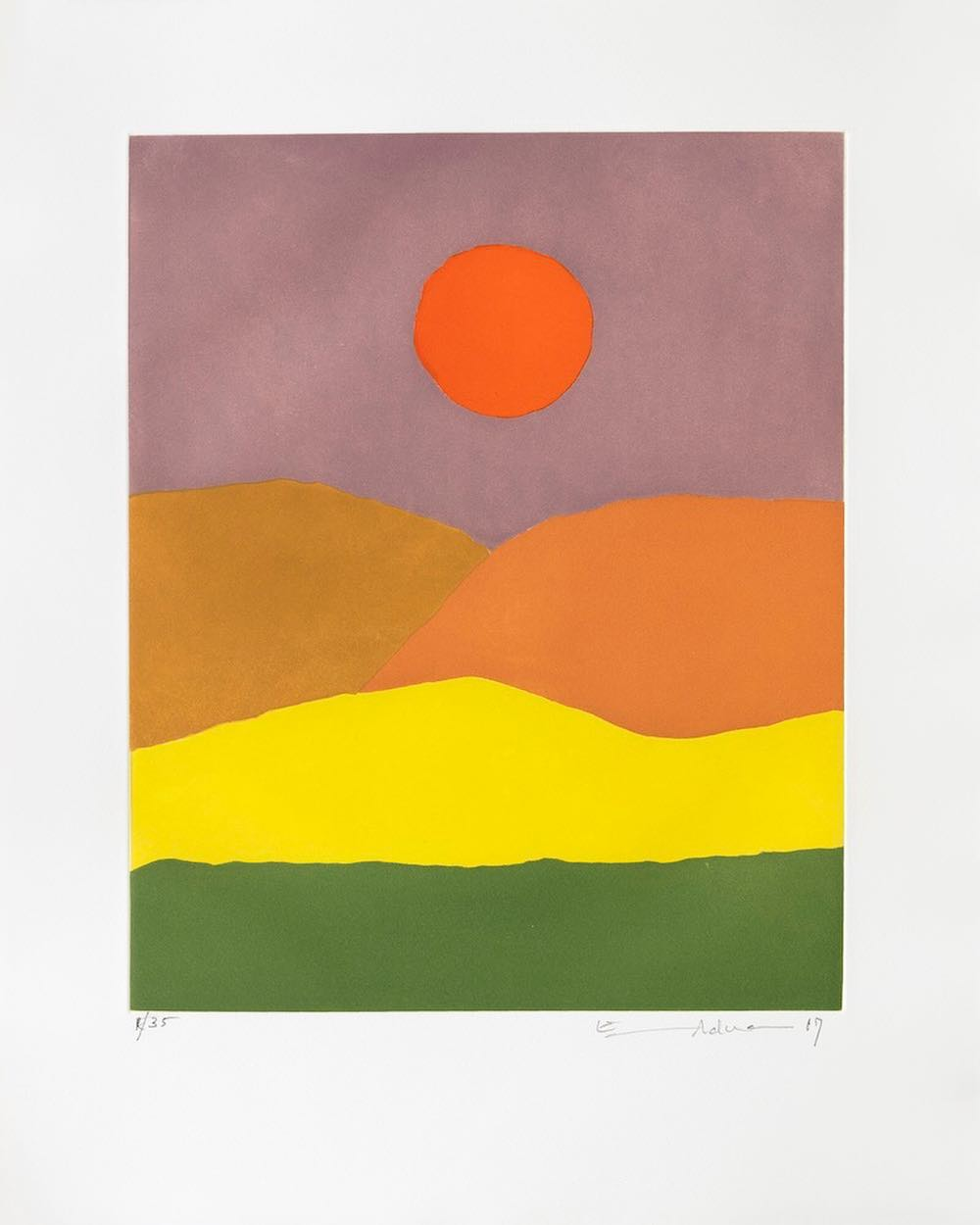 Etel Adnan,  Paysage de feu,  2017, etching