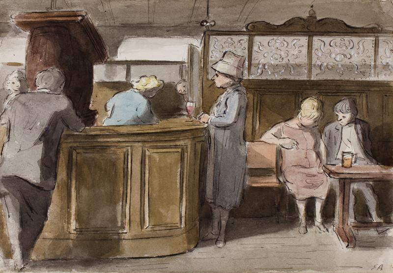 Edward Ardizzone,  Pub bar, Maida Vale,  ink and watercolour