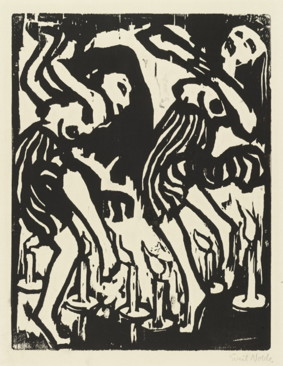 Emil Nolde,  Candle Dancers,  1917, woodcut on paper