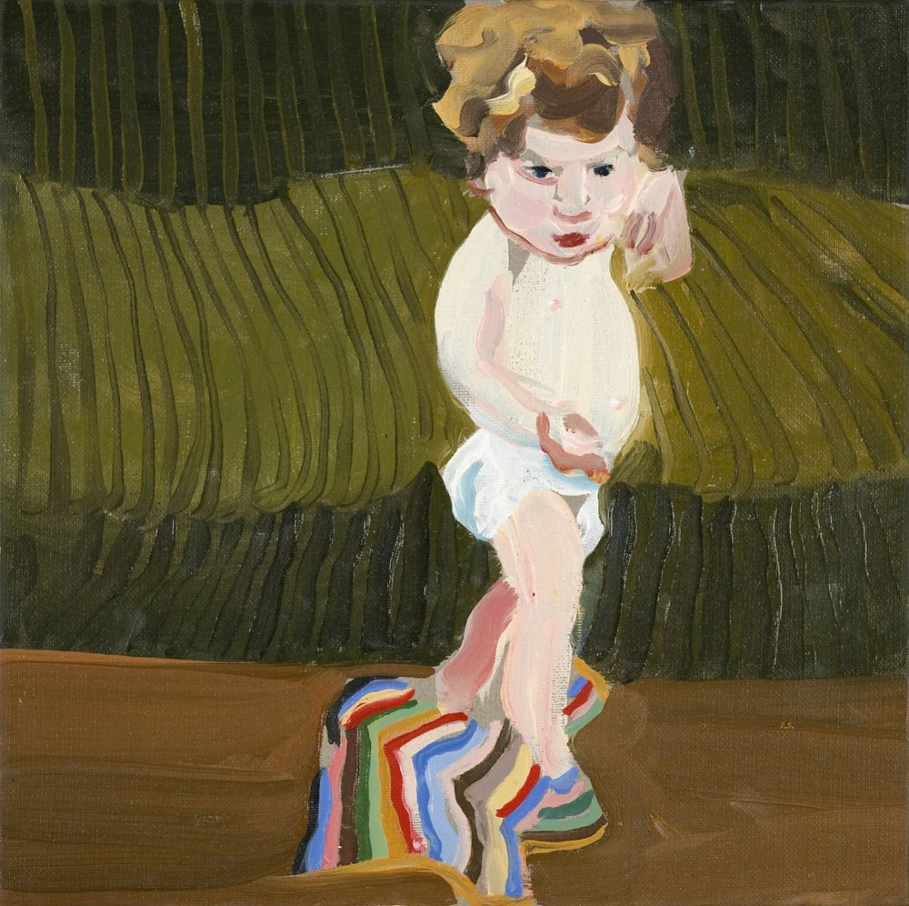 Chantal Joffe,  Esme with a Striped Blanket , 2005, oil on canvas