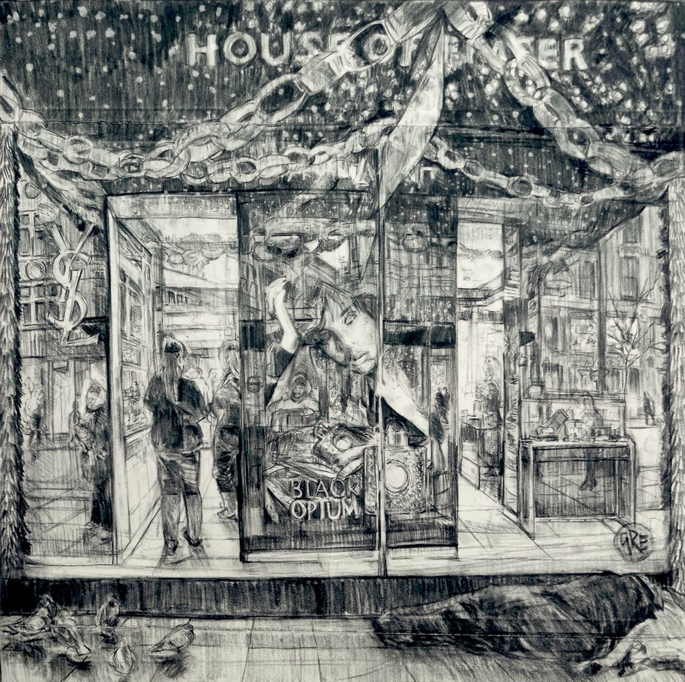 Geraint Evans,  Window Shopping,  2017, charcoal on paper