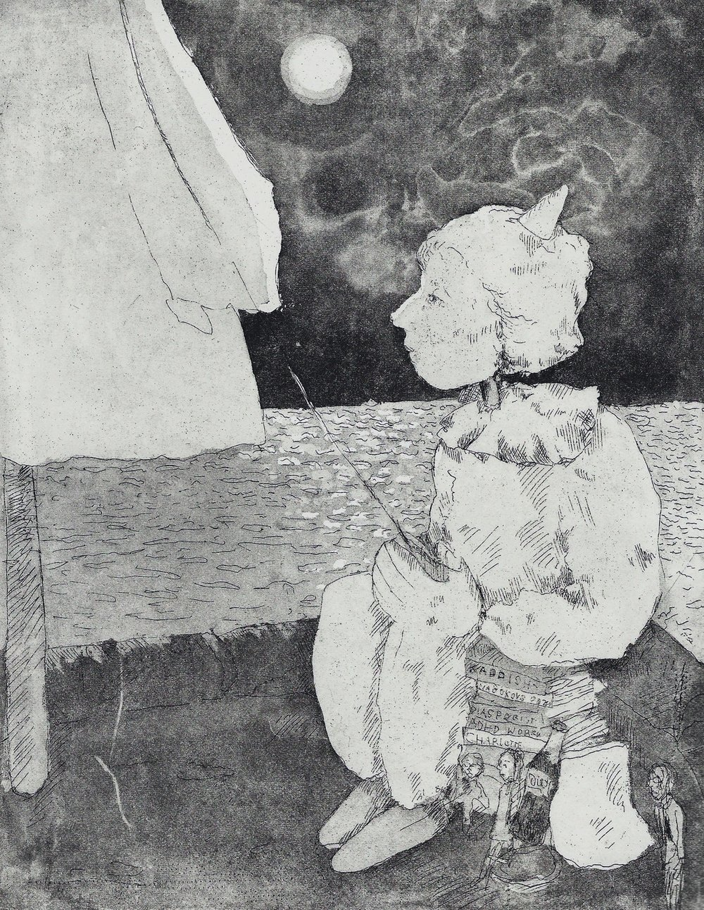 Liorah Tchiprout,  I tried to sail to your nightboat to sorrow, but got lost somewhere,  2018, etching