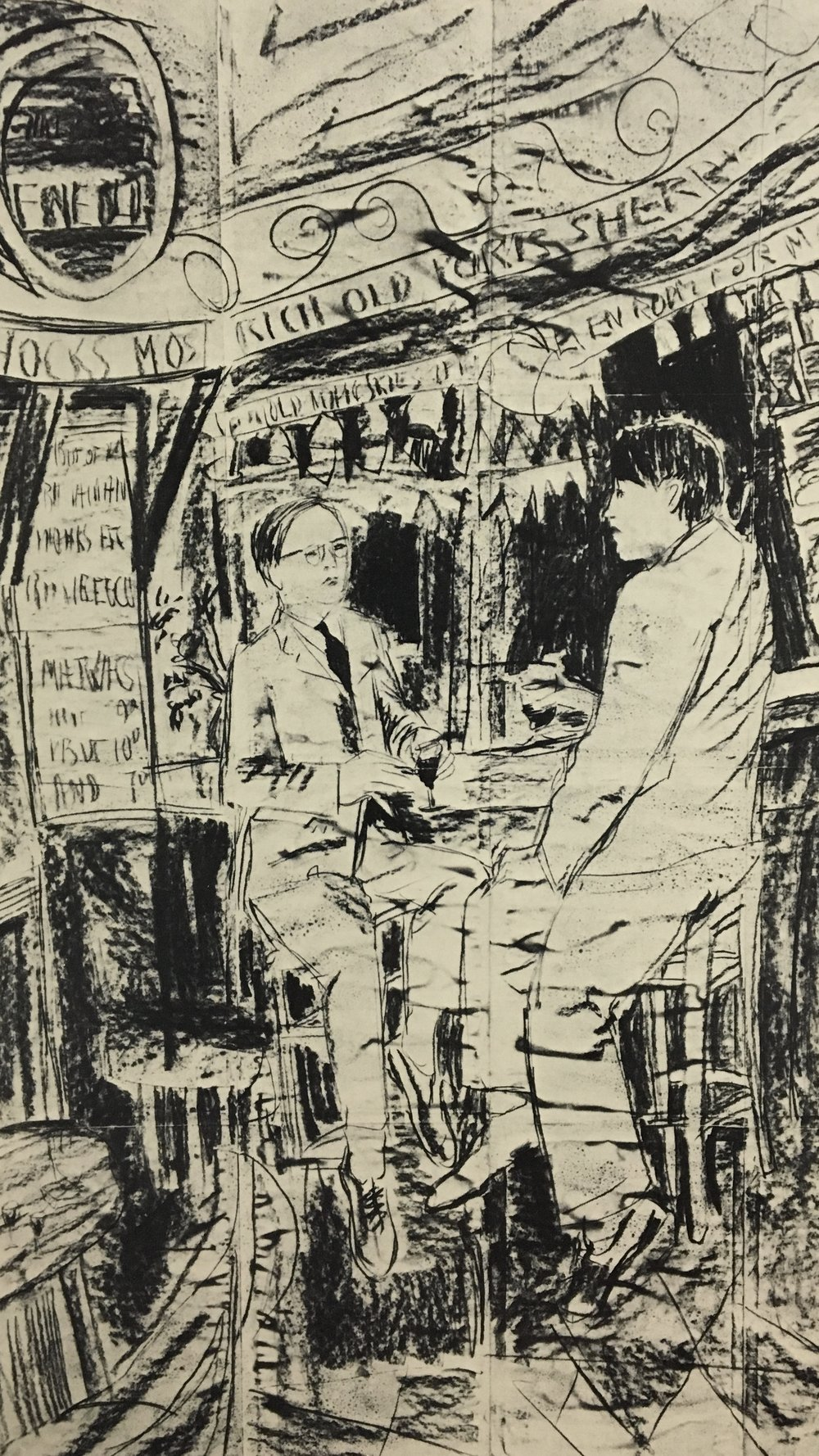 Gilbert and George,  THE BAR No.2  (detail) ,  1972, charcoal on paper