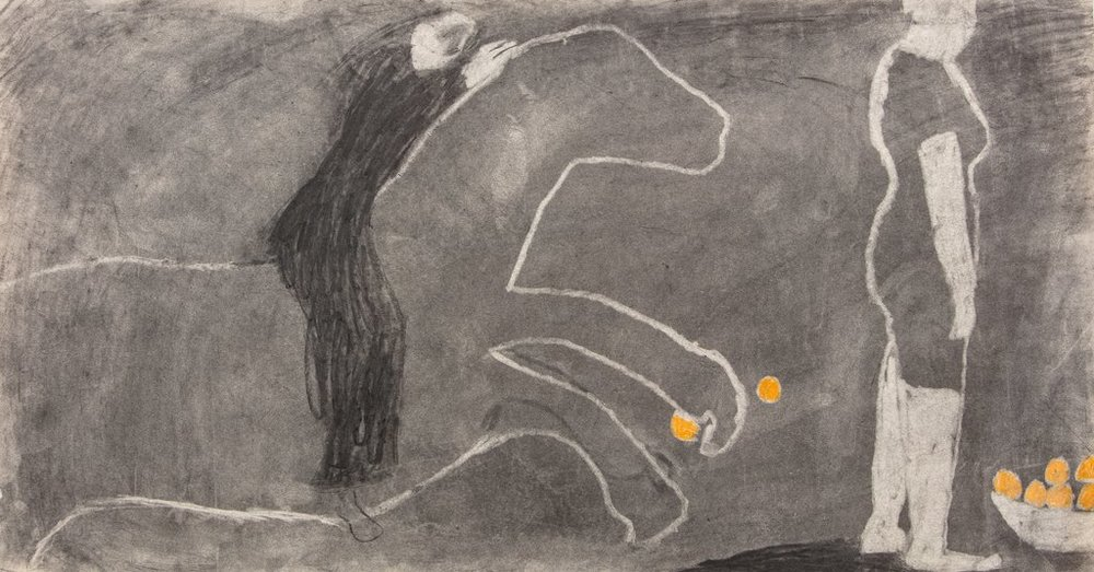 Charlotte Ager,  Orange Horse Rider,  charcoal on paper