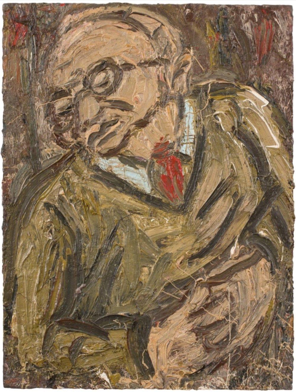 Leon Kossoff,  Portrait of Chaim No.2,  1987, oil on board