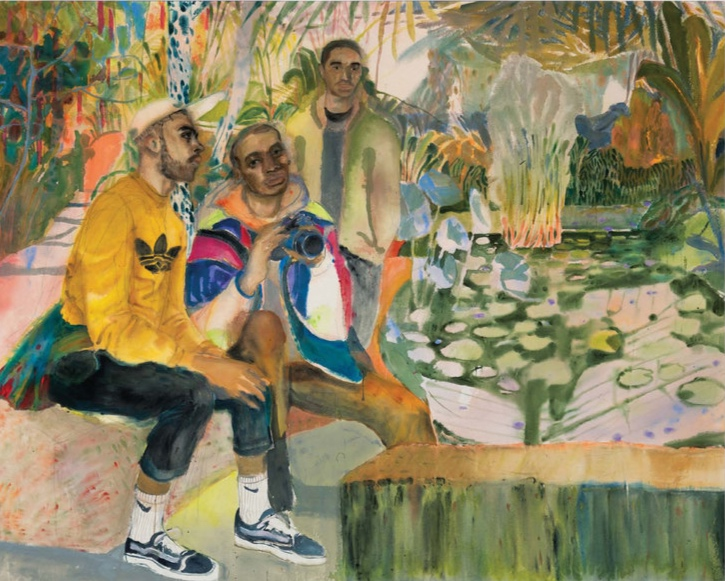 Rebecca Harper,  Guys Hanging Out at the Pond,  acrylic on canvas