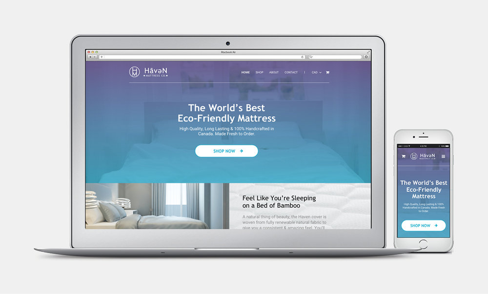 Haven Mattress - Website Mockup